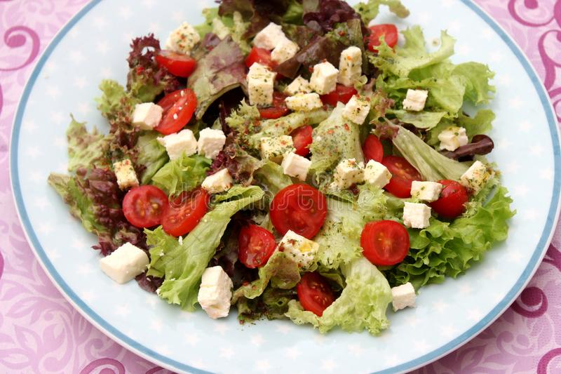 Salad with tomatoes with feta cheese royalty free stock photo