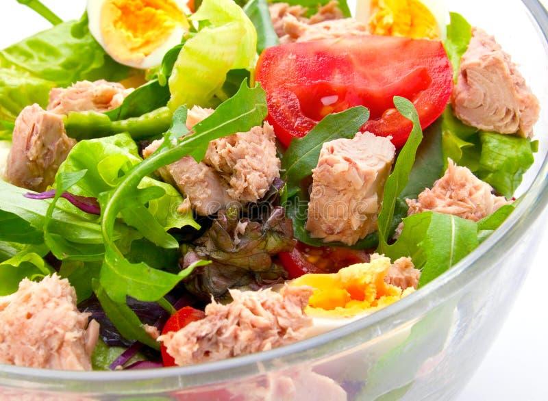 Salad with tuna fish stock photo