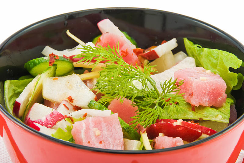 Salad with tunny 2 royalty free stock photography