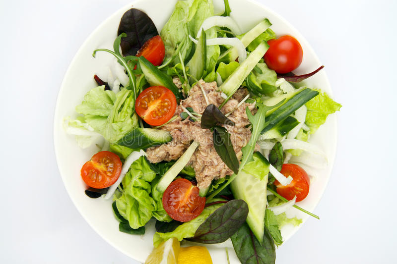 Salad with tunny and vegetable stock photo