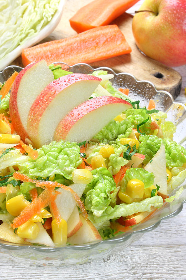 Download Salad Of Vegetables And Apples Stock Photo - Image of corn, vitamins: 39503168