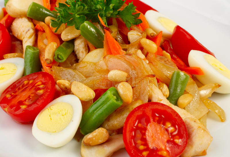 Salad With Vegetables And Chiken Stock Images