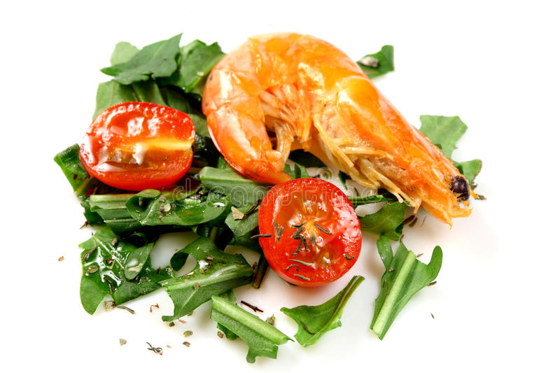 Salad of vegetables with shrimp stock images