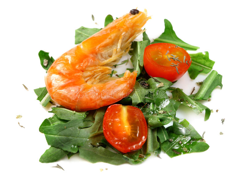 Salad of vegetables with shrimp royalty free stock image