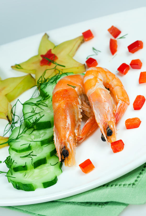 Salad of vegetables with shrimp royalty free stock photo