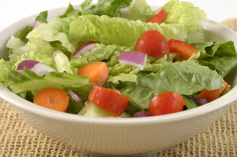 Salad in a White Bowl. Garden salad with lettuce, red onions, carrots, and tomatos