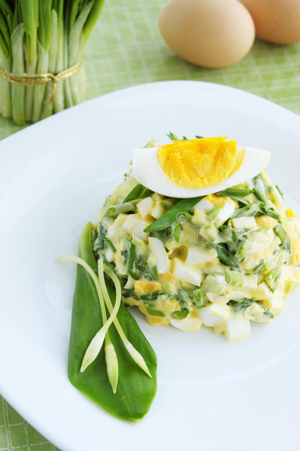 Salad with wild garlic royalty free stock photography