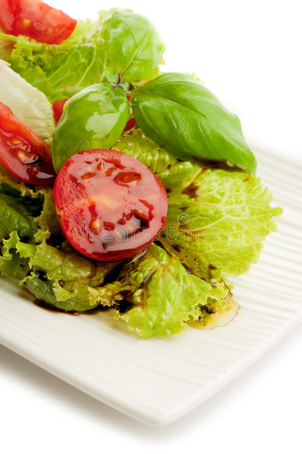 Free Salad With Slice Tomato And Basil Stock Images - 14287414