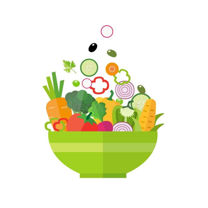 Salada - alimento biológico saudável ilustração stock