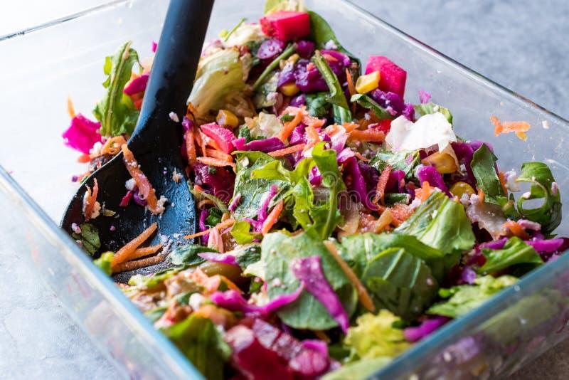 Salada colorida caseiro fresca com couve, a beterraba, a cenoura e o Rocket roxos imagem de stock royalty free