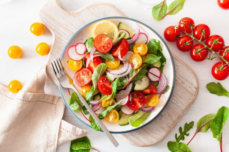 Salada colorida saudável do tomate do vegetariano com pepino, rabanete, cebola fotos de stock