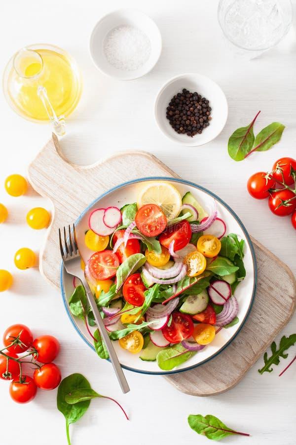 Salada colorida saudável do tomate do vegetariano com pepino, rabanete, cebola imagem de stock royalty free