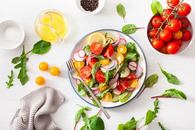 Salada colorida saudável do tomate do vegetariano com pepino, rabanete, cebola imagem de stock