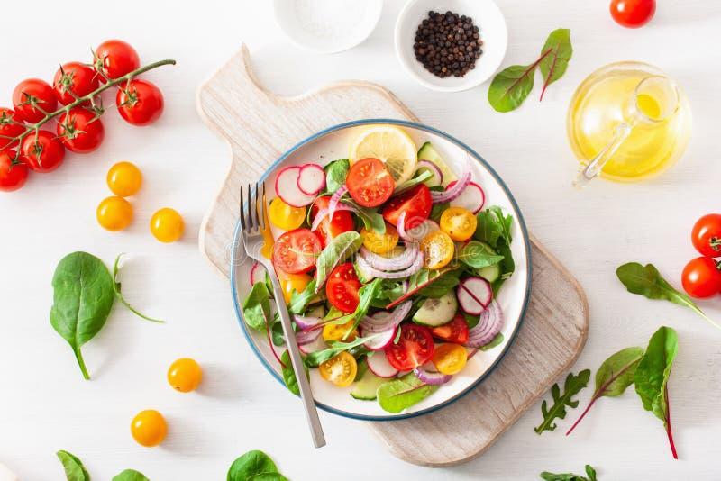 Salada colorida saud?vel do tomate do vegetariano com pepino, rabanete, cebola imagens de stock royalty free