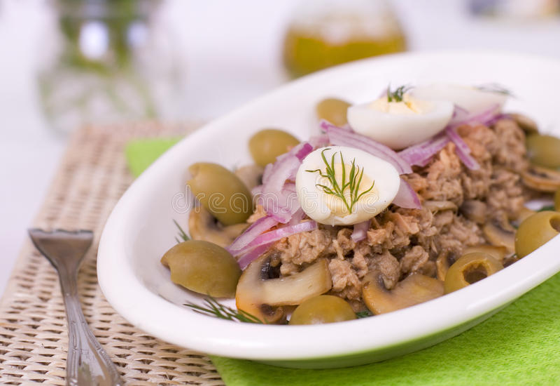 Salada com atum, cogumelos e azeitonas verdes foto de stock royalty free