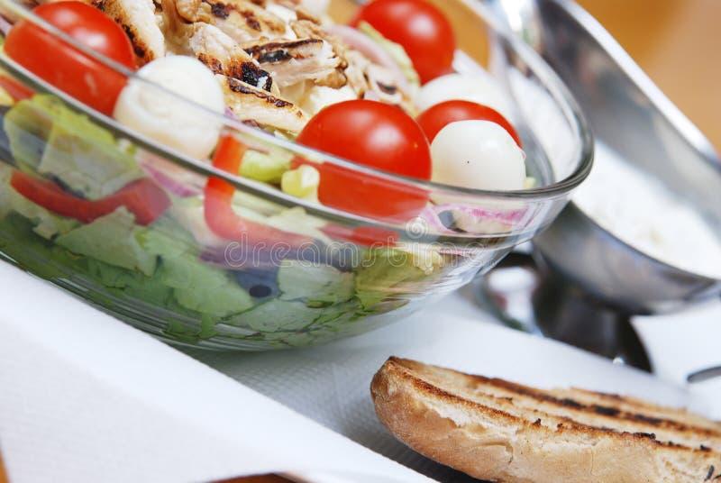 Salada com bife e molho foto de stock