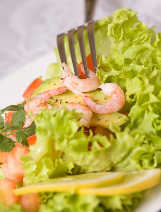 Salada com camarões e abacate foto de stock royalty free