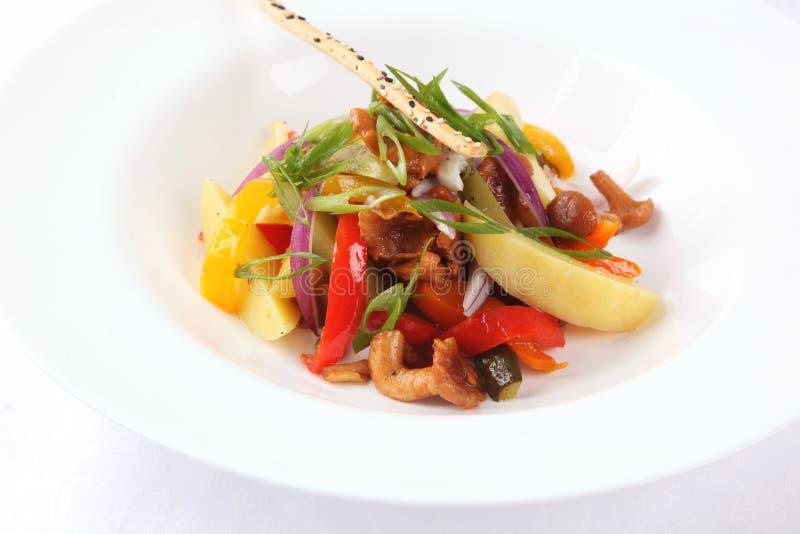 Salada com cogumelos e vegetais fotografia de stock royalty free