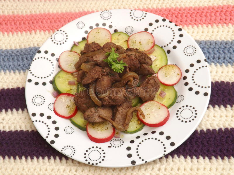 Salada com fígado imagem de stock