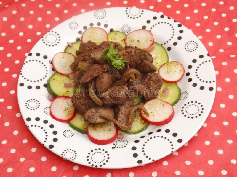 Salada com fígado fotografia de stock