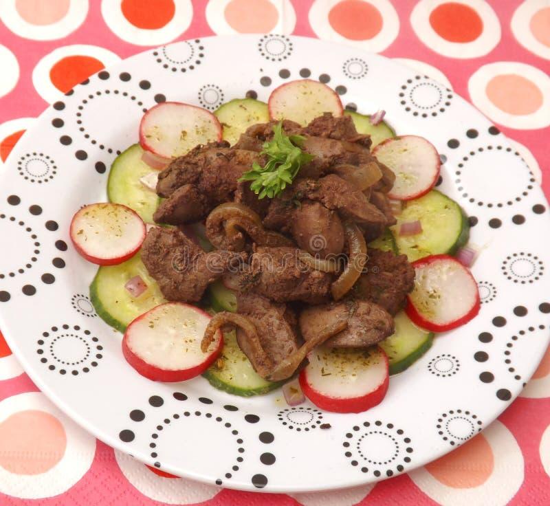 Salada com fígado imagem de stock royalty free