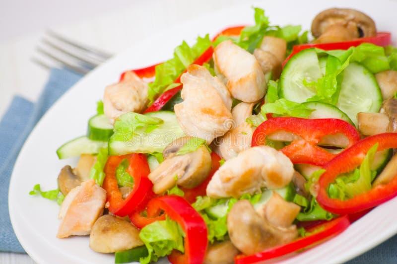 Download Salada Com Galinha, Cogumelos E Vegetais Foto de Stock - Imagem de alimento, peito: 29848352