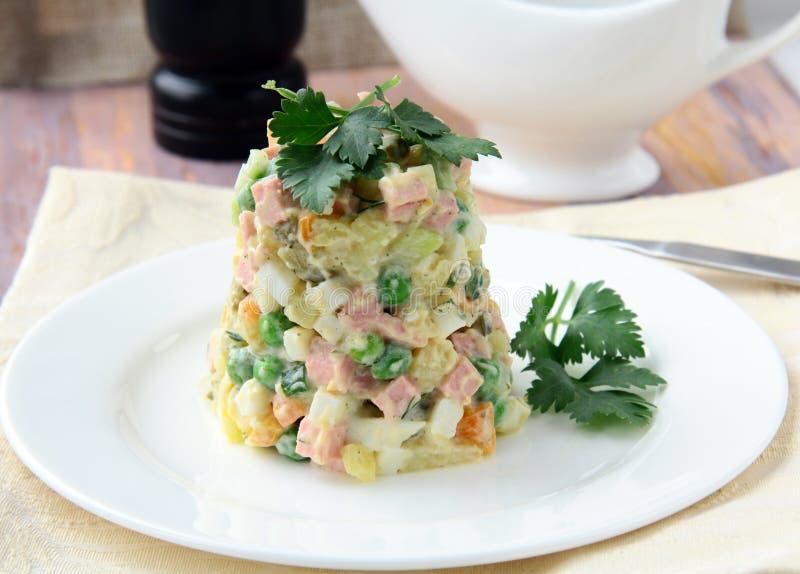 Salada com maionese e vegetais e carne fotografia de stock