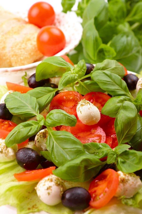 Salada com manjericão, mozzarella, azeitonas e tomate foto de stock royalty free