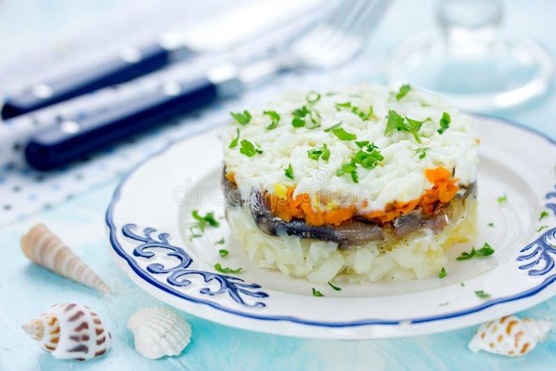 Salada com peixes e vegetais foto de stock