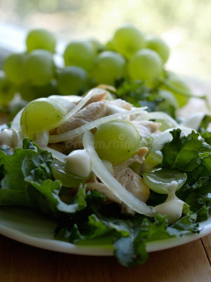 Salada com a uva da cebola da galinha. com pouco DOF fotografia de stock royalty free