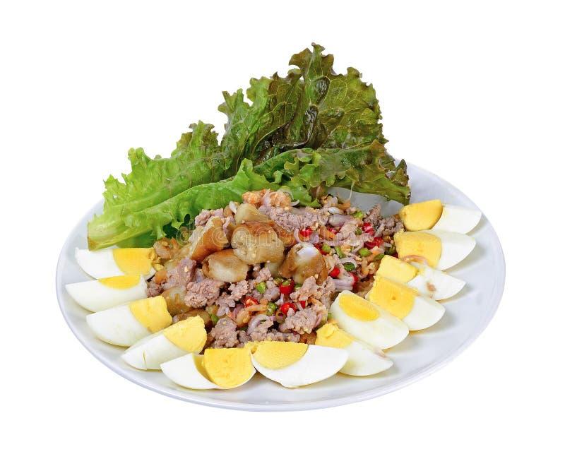 Salada da beringela isolada no fundo branco foto de stock
