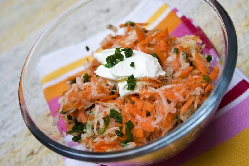Salada da cenoura e da couve-rábano imagens de stock