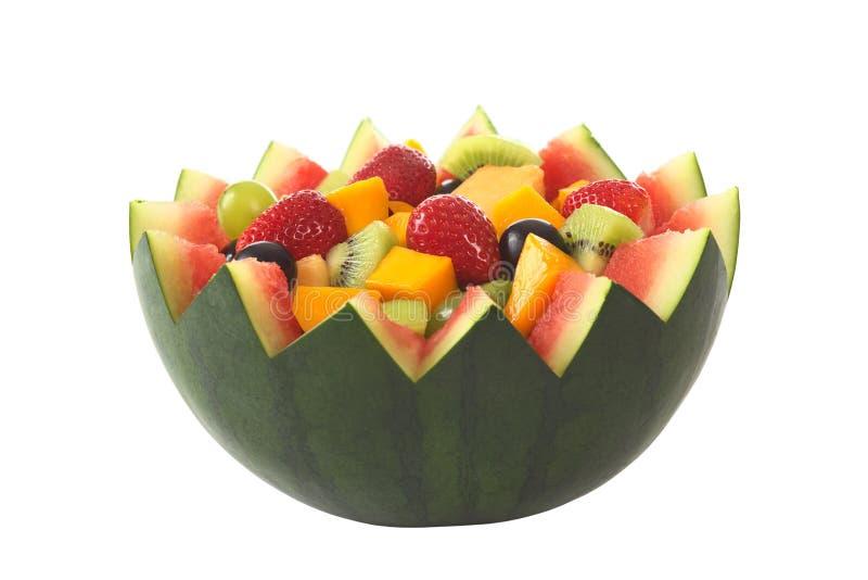 Salada da fruta na bacia do melão foto de stock royalty free