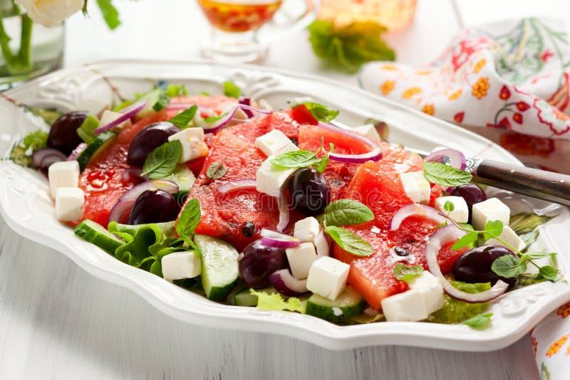 Salada da melancia com feta imagem de stock