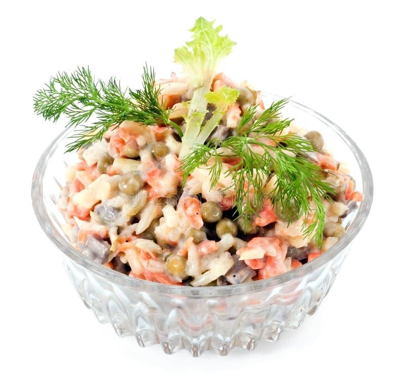 Salada das ervilhas, da cenoura, da batata e do fígado imagem de stock royalty free