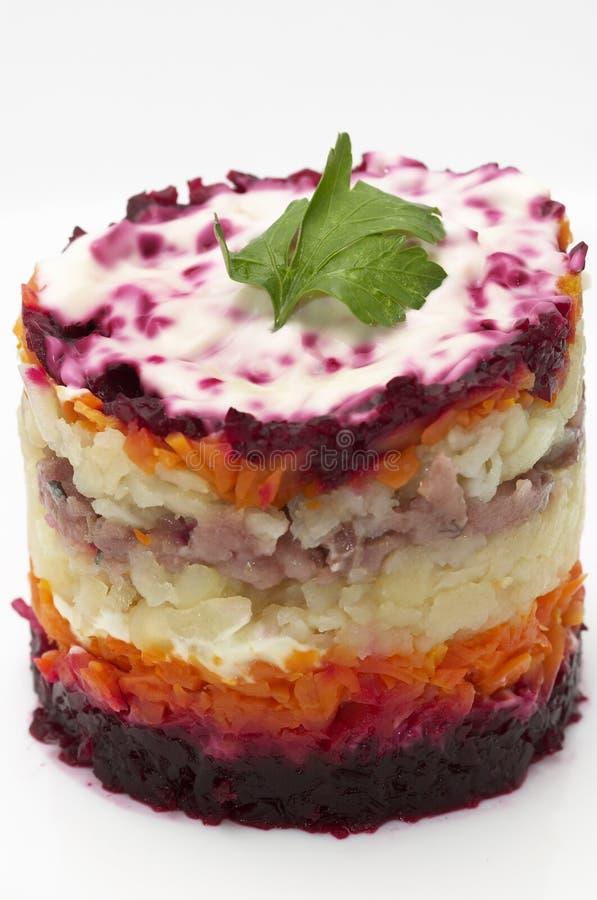Salada de arenques do russo fotografia de stock
