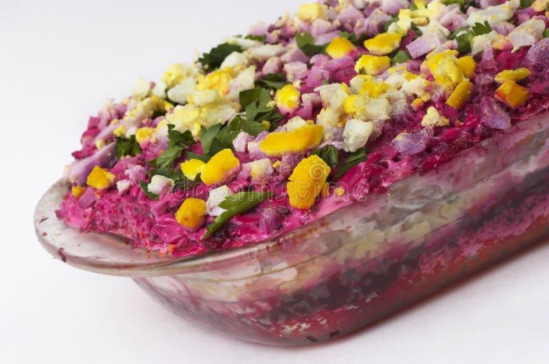 Salada de arenques do russo fotos de stock