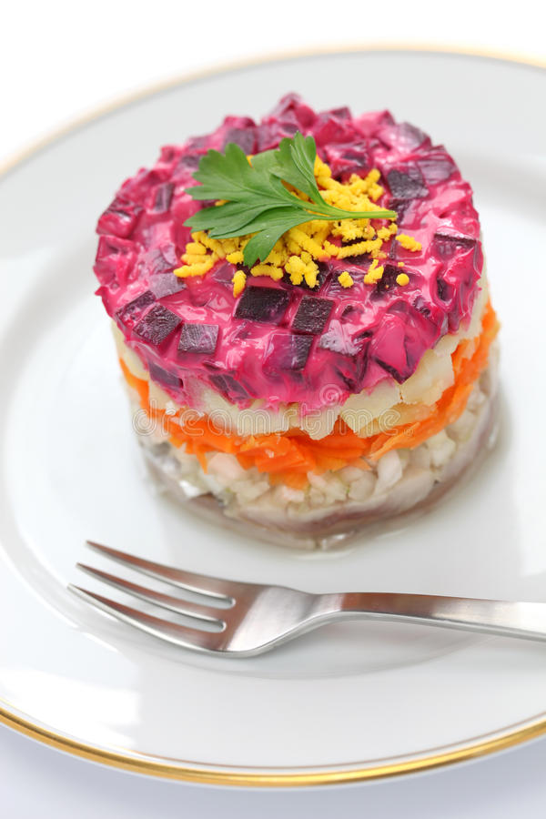 Salada de arenques do russo imagens de stock