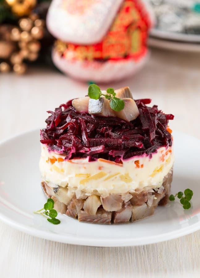 Salada de arenques do russo foto de stock