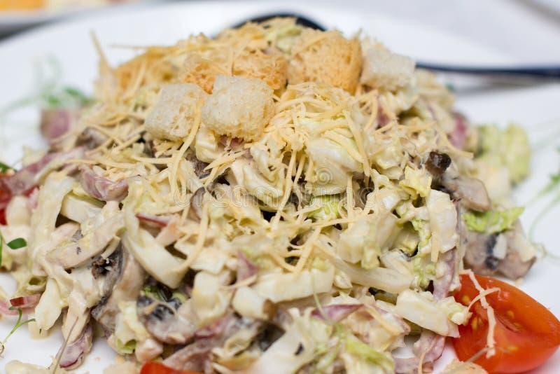 Salada de atum com alface, ovos e tomates fotografia de stock