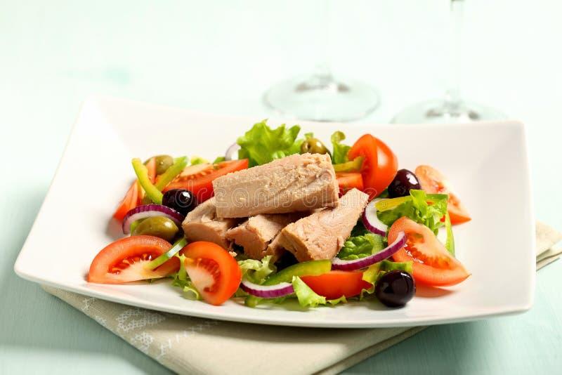 Salada de atum com tomates imagens de stock royalty free