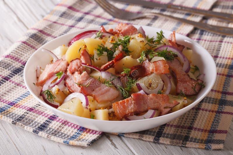 Salada de batata alemão com fim do bacon acima horizontal fotos de stock royalty free