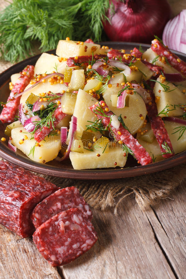 Salada de batata alemão em uma placa e nos ingredientes, verticais imagens de stock royalty free