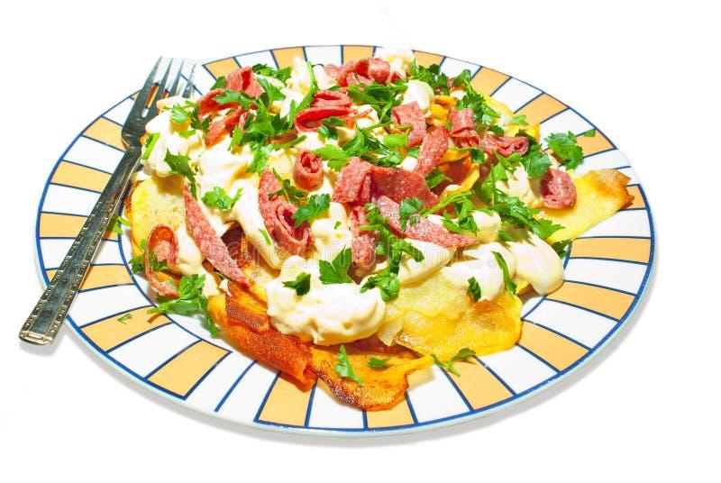 Salada de batata com salsa imagem de stock