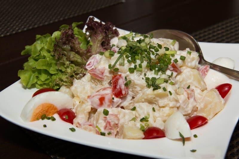 Salada de batata europeia com legumes misturados foto de stock