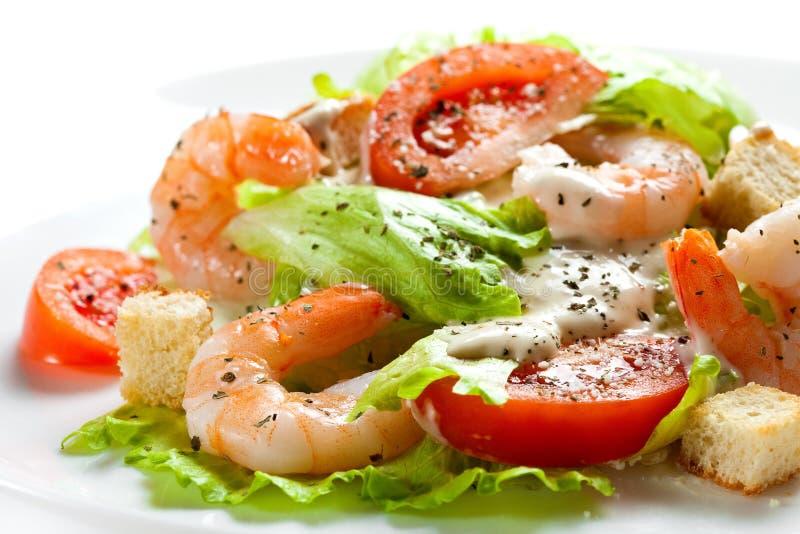 Salada de Caesar com fim do camarão acima no fundo branco fotografia de stock royalty free