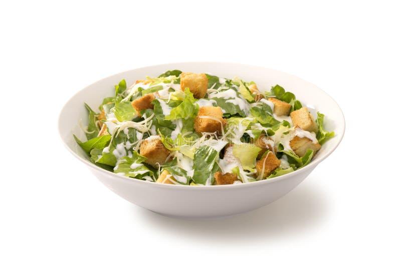 Salada de Caesar em uma placa branca imagens de stock