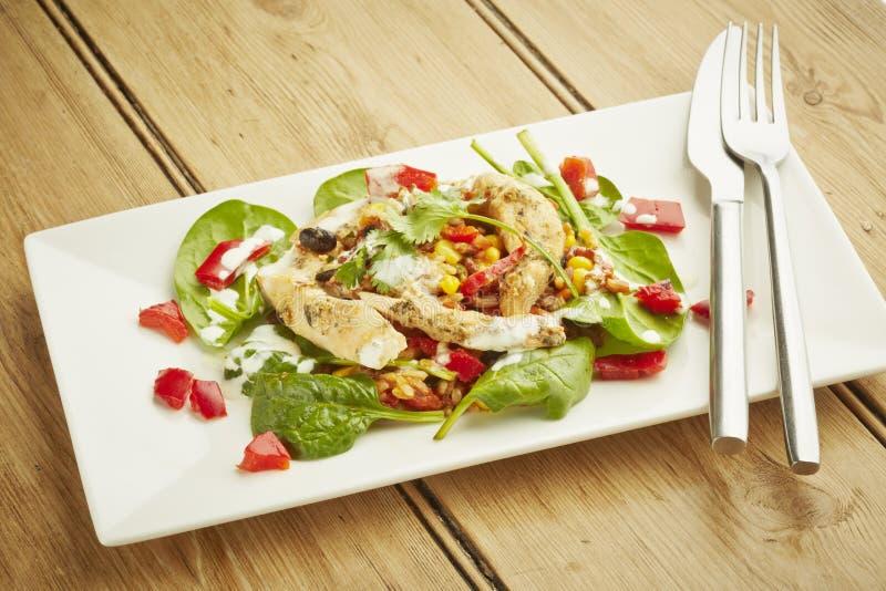 Salada de frango no prato branco imagens de stock royalty free