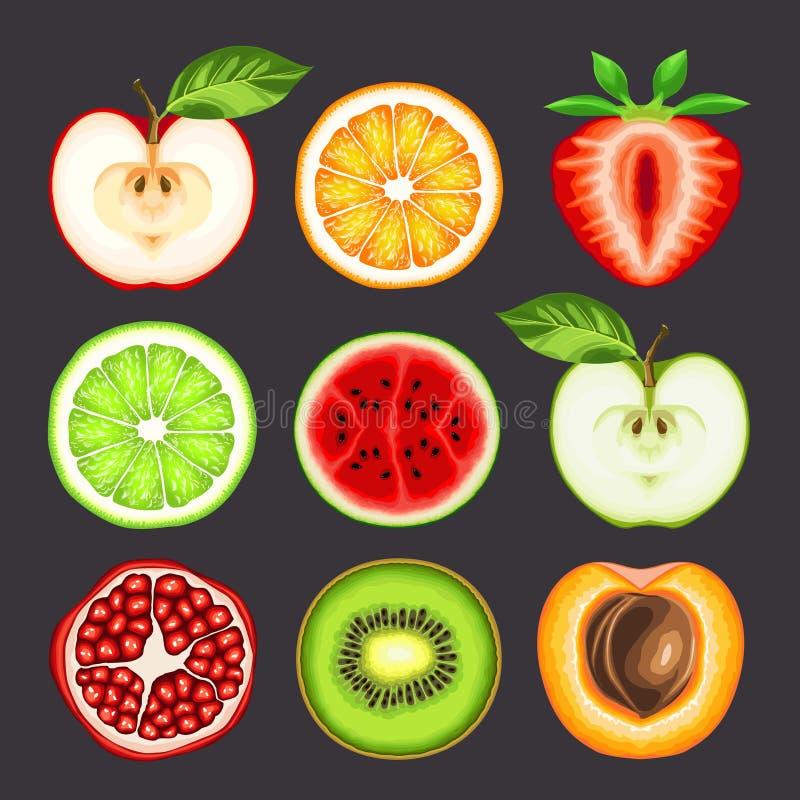Salada de fruta fresca na placa azul ilustração do vetor