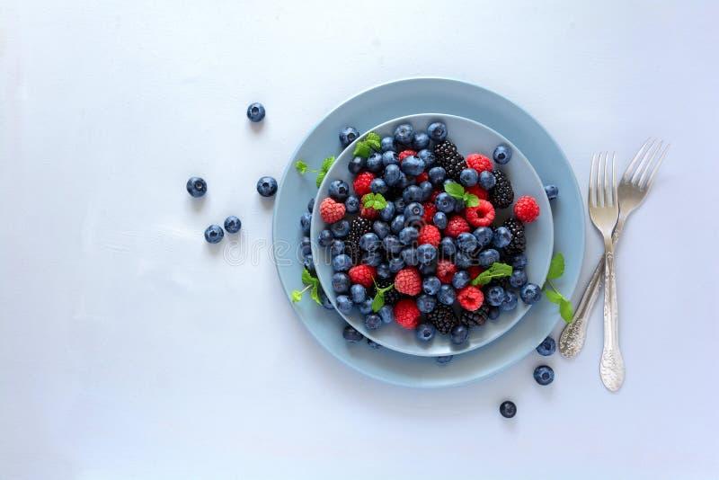 Salada de fruto com as folhas da amora-preta, do mirtilo, da framboesa e de hortelã no fundo cinzento de madeira Configuração lis foto de stock royalty free